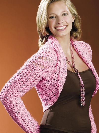 Cotton Candy II  Stitch this fine-weight pink shrug for a friend or family member to wear in support of Breast Cancer Awareness.  Designed by Alice Hyche  Free Download