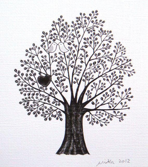Love Illustration Tree Of Love Ink Drawing Print Black White Love Birds Nest Heart Woodland Wedding 4x6 Mod Ink Drawing Illustration Original Ink Drawing Art