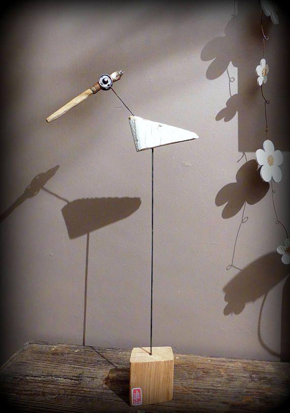 la grande aigrette oiseau en bois flott et mat riaux de r cup ration upcycling tggbb. Black Bedroom Furniture Sets. Home Design Ideas