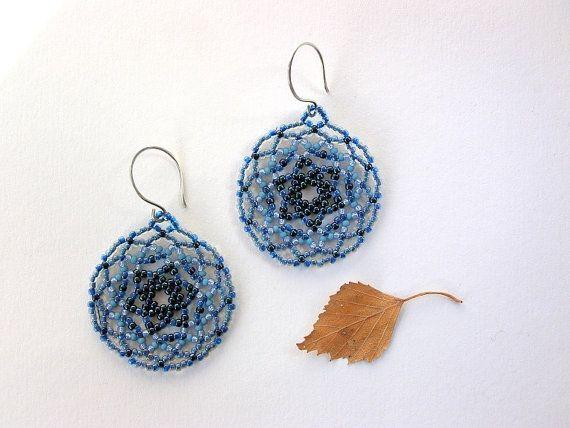 Blue Beaded Mandala Earrings