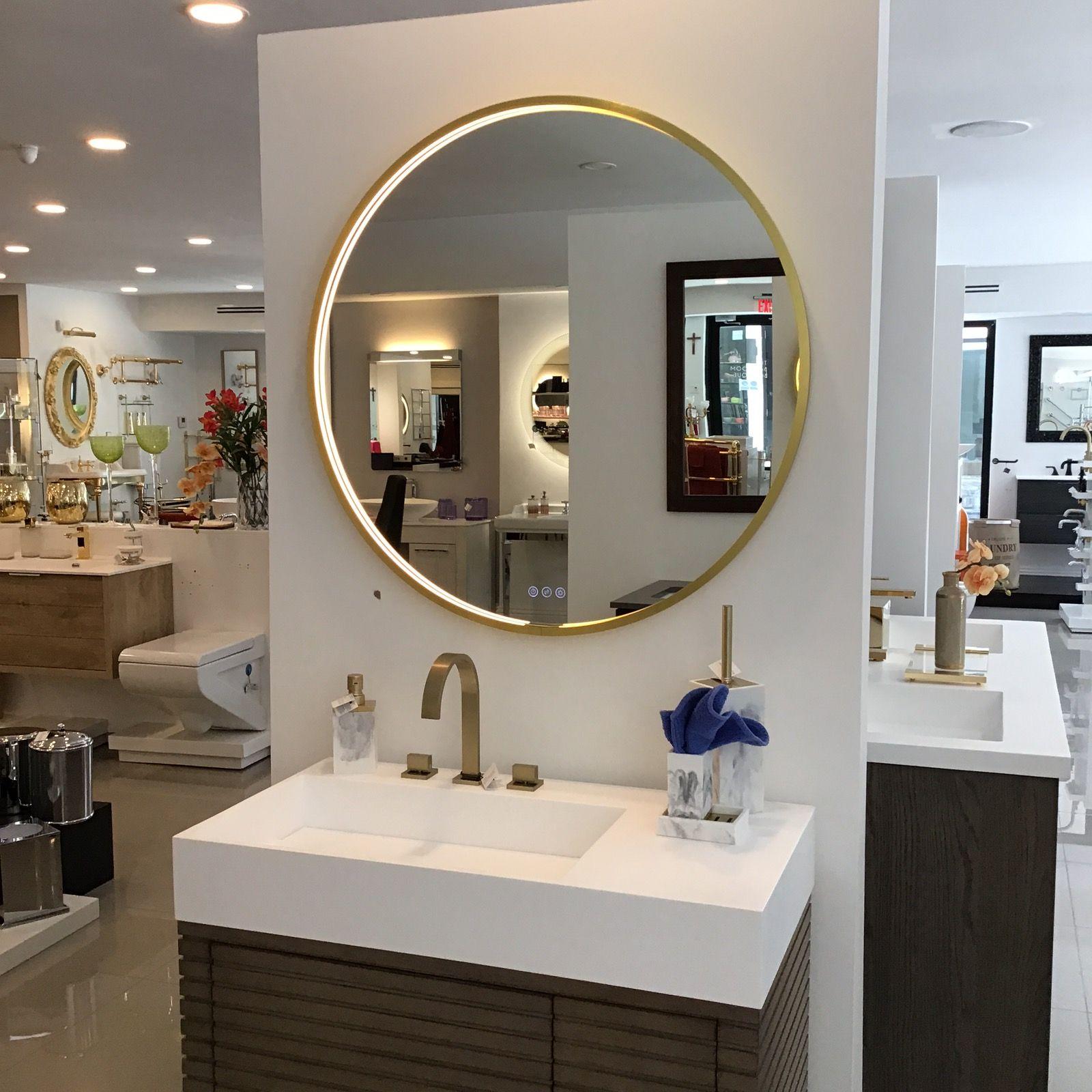 Frame Led Vanity Mirror 36 Brass Satin Brass Round Modern Wall Mount Mirror Mirror With Led Lights Round Mirror Bathroom [ 1600 x 1600 Pixel ]
