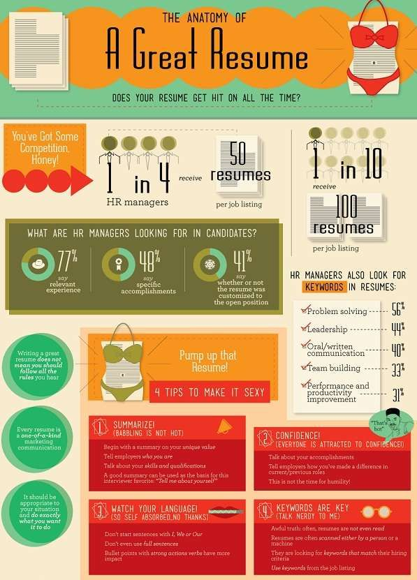 anatomy of a great resume this infographic for job seekers shows how to write better resumes what human resource departments are looking for