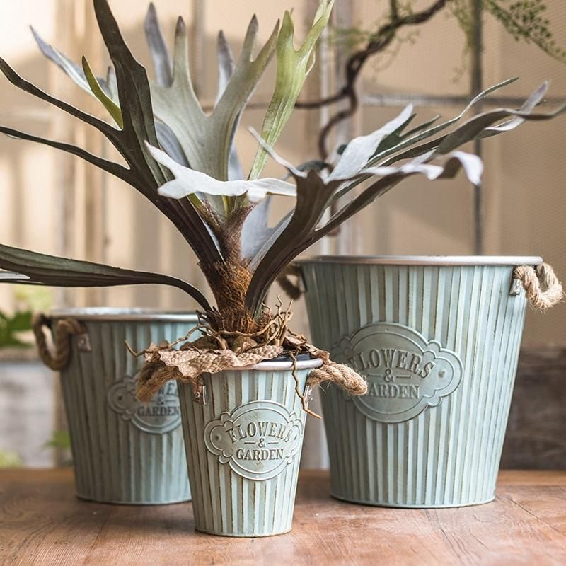 Metal Pot Flowers And Garden Pot With Rope Handles Set Of 3 Flower Pots Rustic Flowers Artificial Flowers