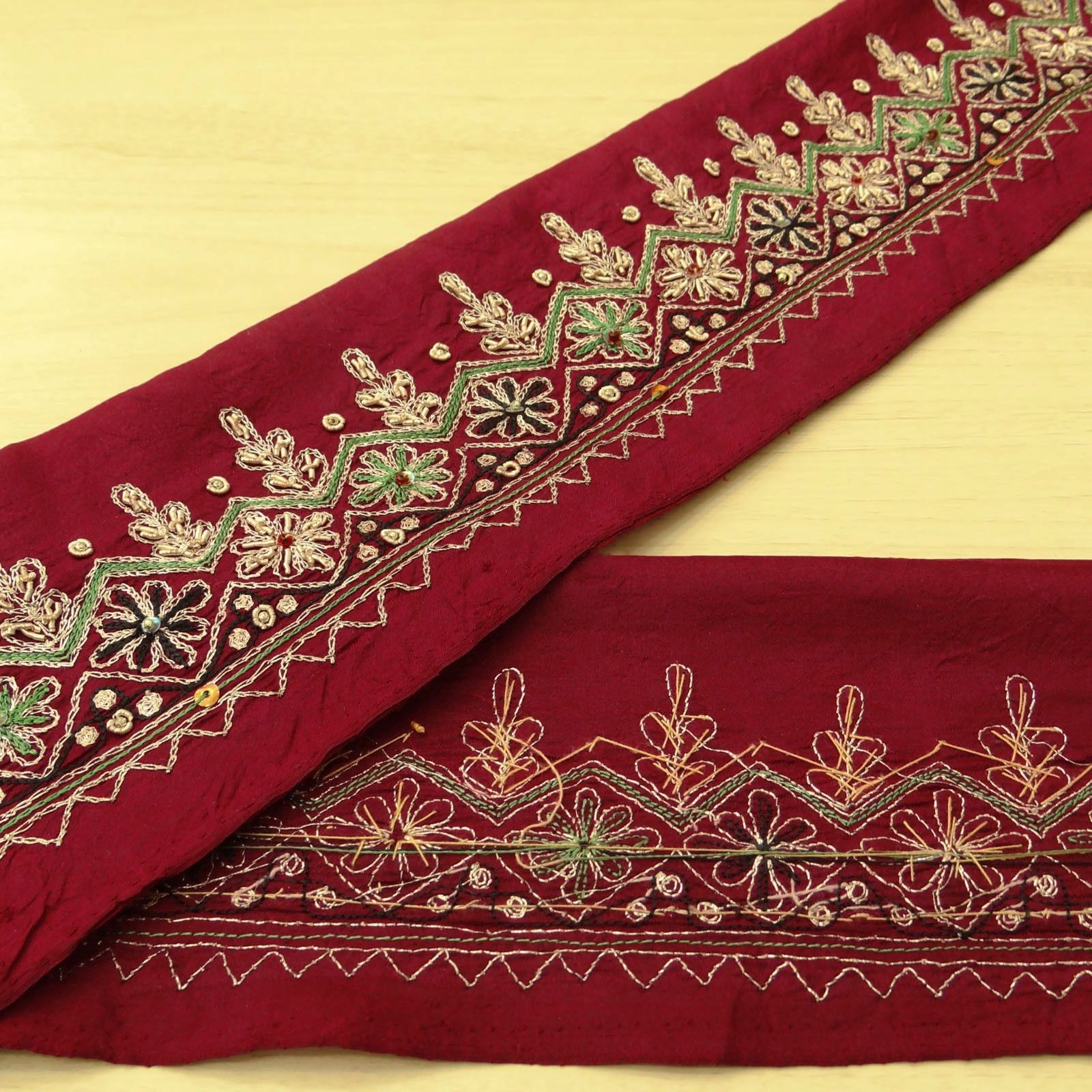 Sewing Just Vintage Sari Border Antique Hand Beaded Indian Trim Sewing Maroon Lace Easy To Use
