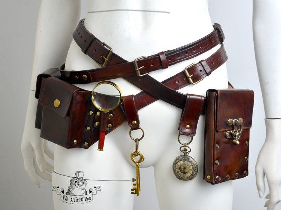 In this package you get: 2 belts 1 belt with 3 bags (+ magnifying glass + small watch) 1 big bag (size of a mobile phone) 2 sets of keys (size and design may vary a little) 1 a little bigger watch 1 clasp to attach... uhm... things Belts size: custom- leave a note to a seller during check-out with a desired length. Handcrafted from high quality leather, dyed with Eco-flo colors to give it that rich dark red-brown antiqued and worn-out look. Edges nicely burnished and painted with Edge…