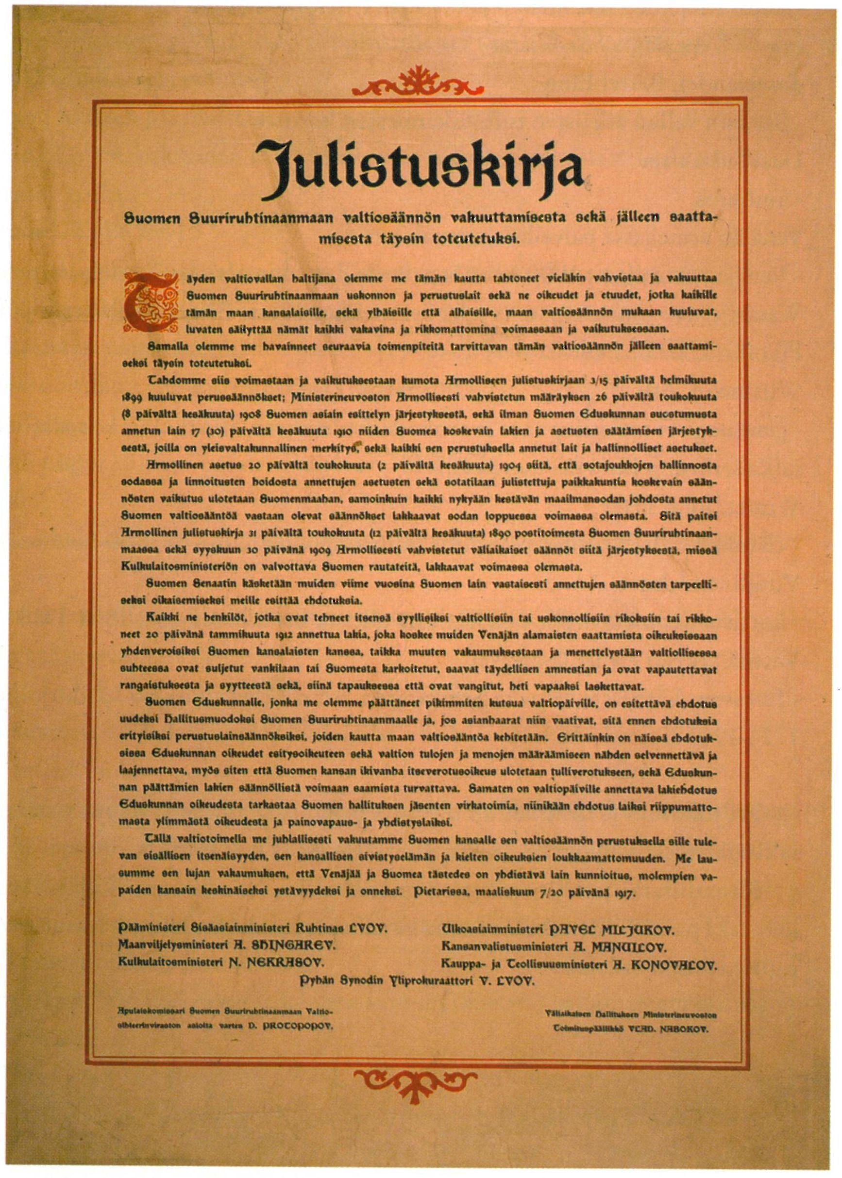 Svinhuvfud – Suomen itsenäisyyden tekijät ja vaiheet