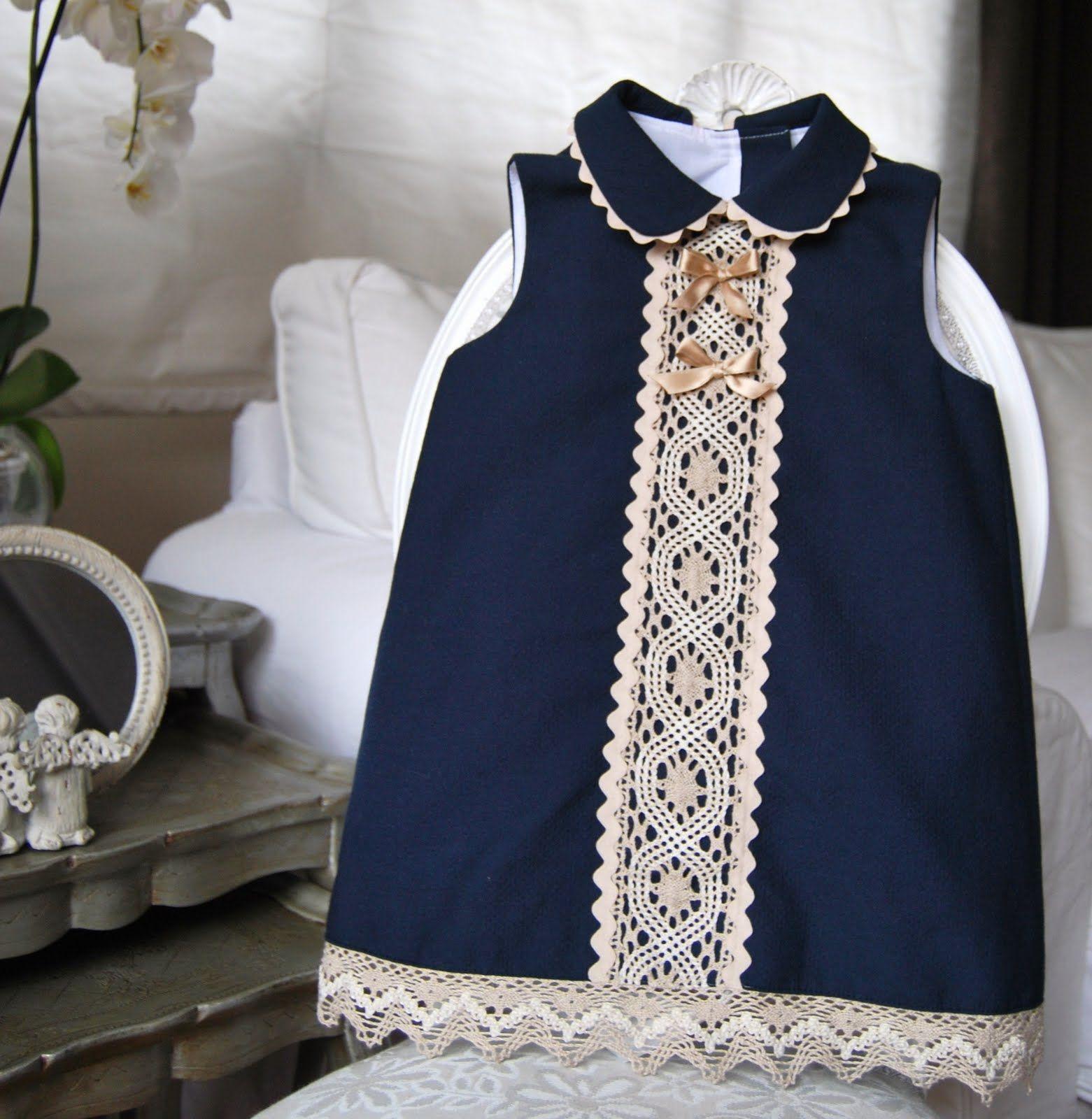 El armario de inés girl dress blue camel summer bibi