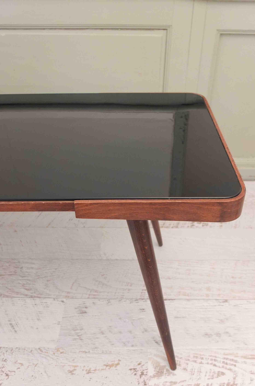 Table En Verre Noir Et Bois Pieds Compas Glass Slavia