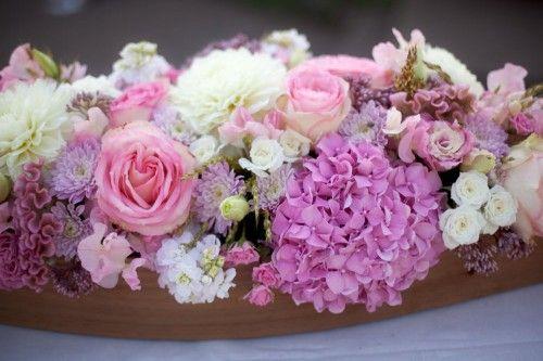 Preppy Meets Pretty | Rose centerpieces, Purple hydrangeas and ...