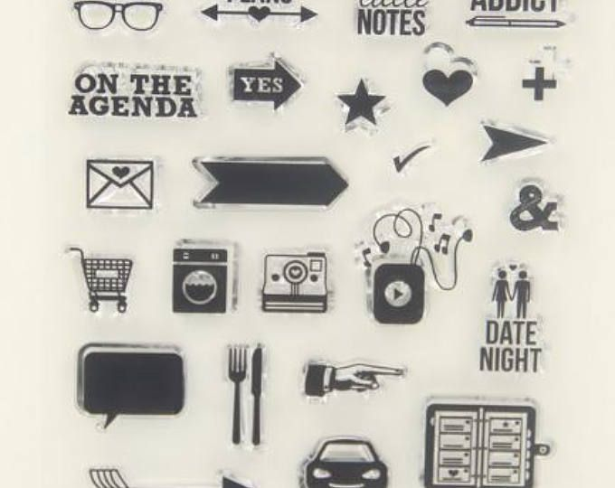 Planner Nerd Clear Rubber Icon Stamps for Planners, Calendars - making agendas