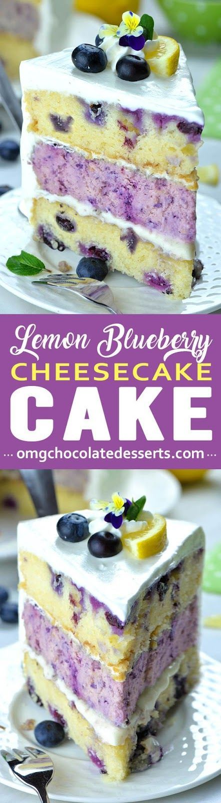 Lemon Blueberry Cheesecake Cake Lemon Blueberry Cheesecake Cake is refreshing, spring and summer dessert assembled of moist lemon cake, blueberry cheesecake and cream cheese frosting.
