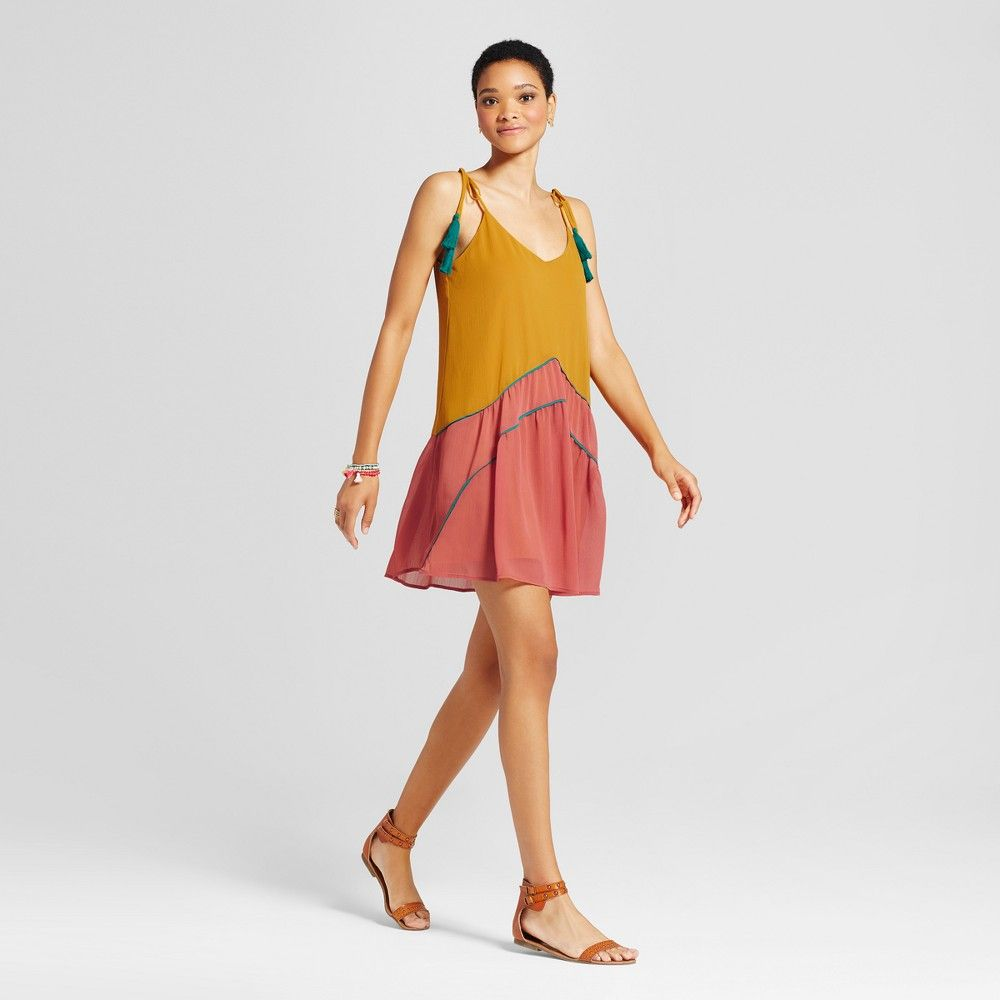 Womenus color blocked piped dress mossimo supply co gold xxl