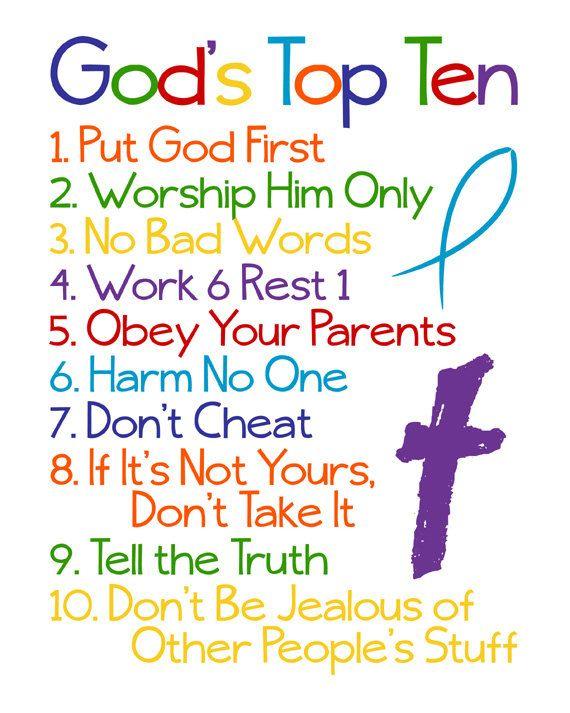 Christian Wall Art Ten Commandments Bible Verse Gods Top Ten For