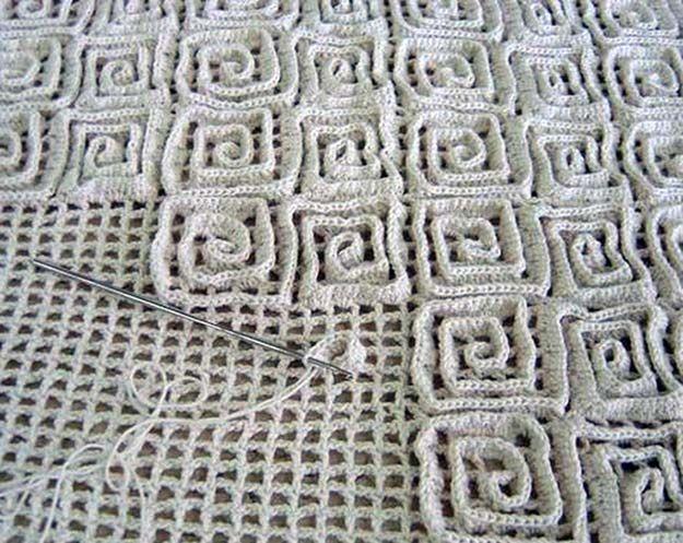вязание ковриков крючком по объемной схеме на филейной сетке Diy
