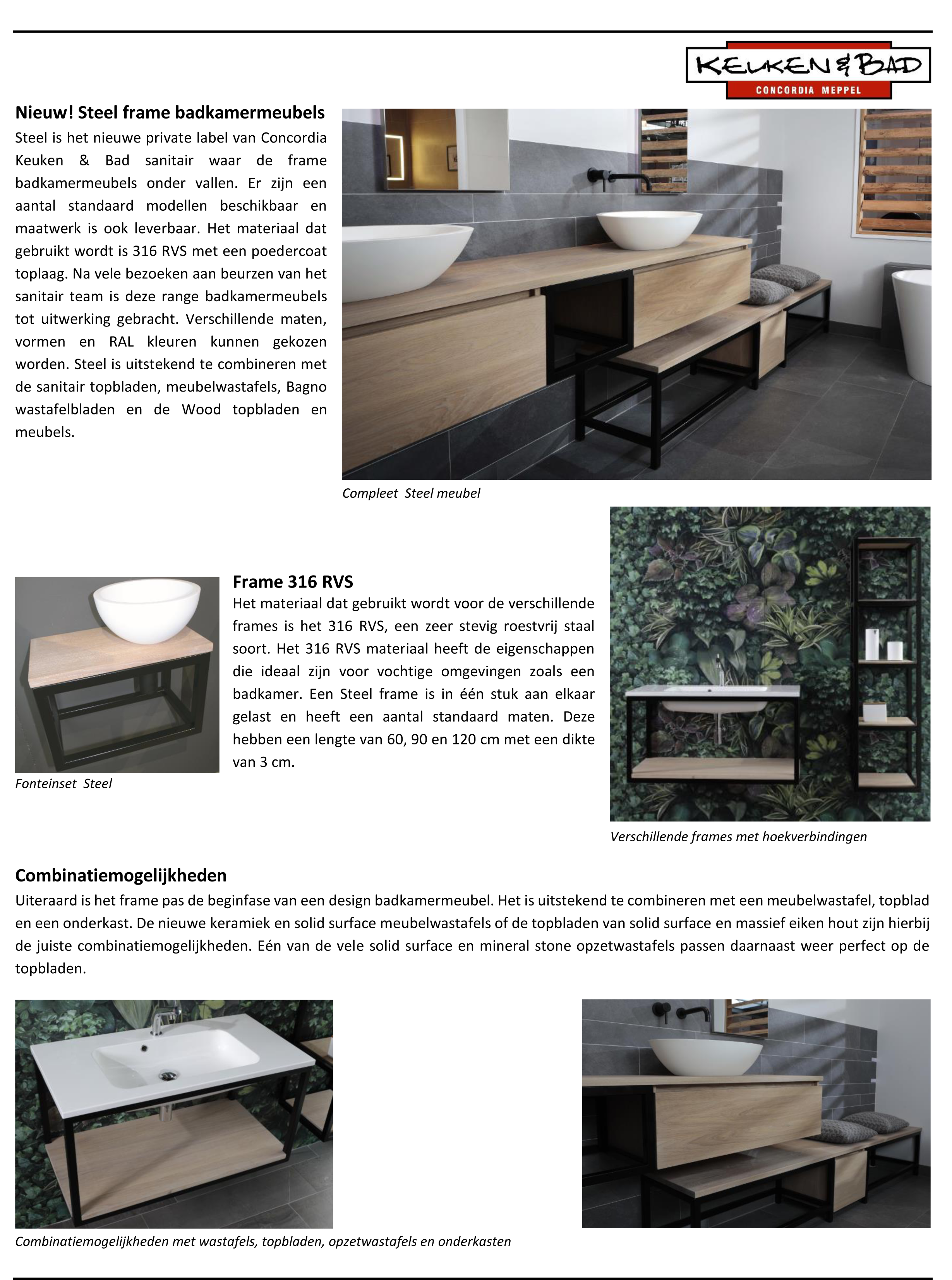 nieuw steel frame badkamermeubels bij concordiakenb sanitair