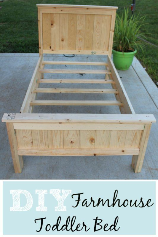 Toddler Bed DIY Farmhouse bed for less than $60. Simple for even images