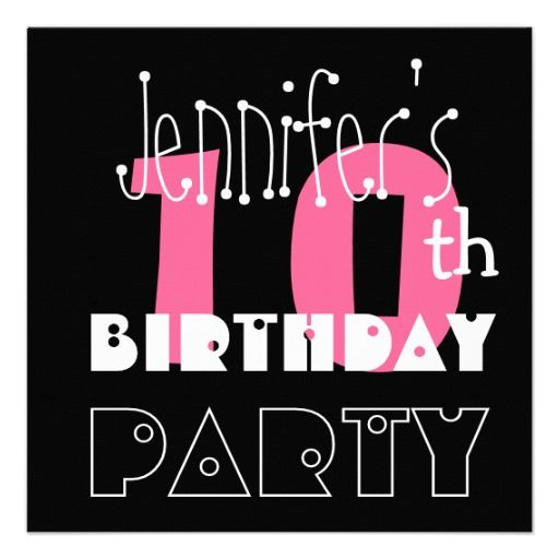 kid s 10th birthday custom name modern pink invitation in 2018