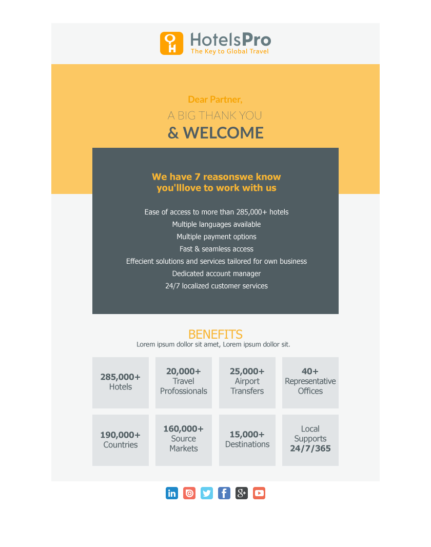 responsive welcome email design b2b travel hotel. Black Bedroom Furniture Sets. Home Design Ideas