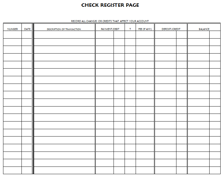 Blank Checkbook Register Blank Checkbook Balance Sheet – Check Register Worksheet