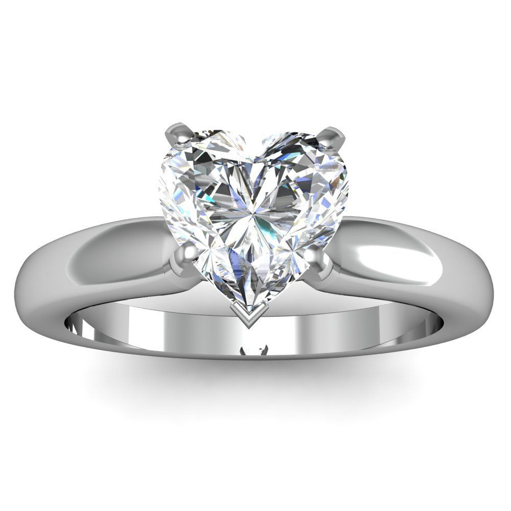 White Gold 2 Carat Solitaire Heart Shaped Diamond Engagement Ring