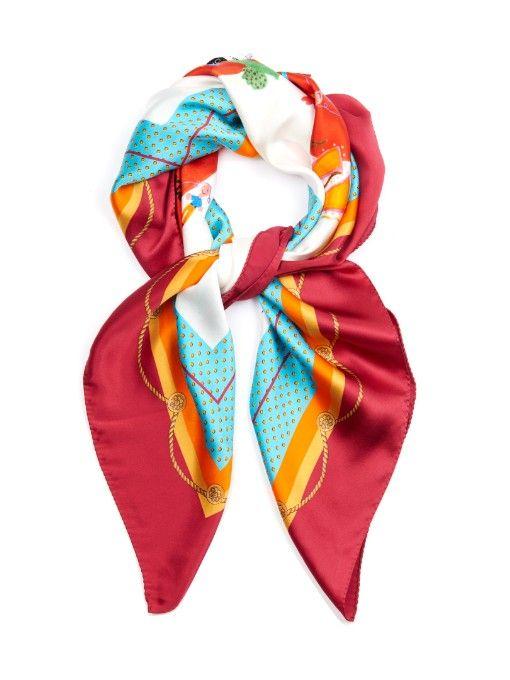 Dolce & Gabbana Drawing heart-print silk-satin scarf