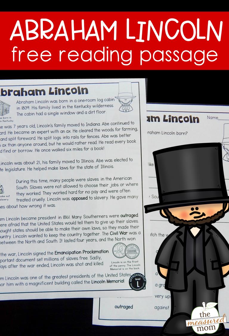Abraham Lincoln Reading Passage Free Reading Passages Reading Passages Abraham Lincoln For Kids [ 1127 x 768 Pixel ]