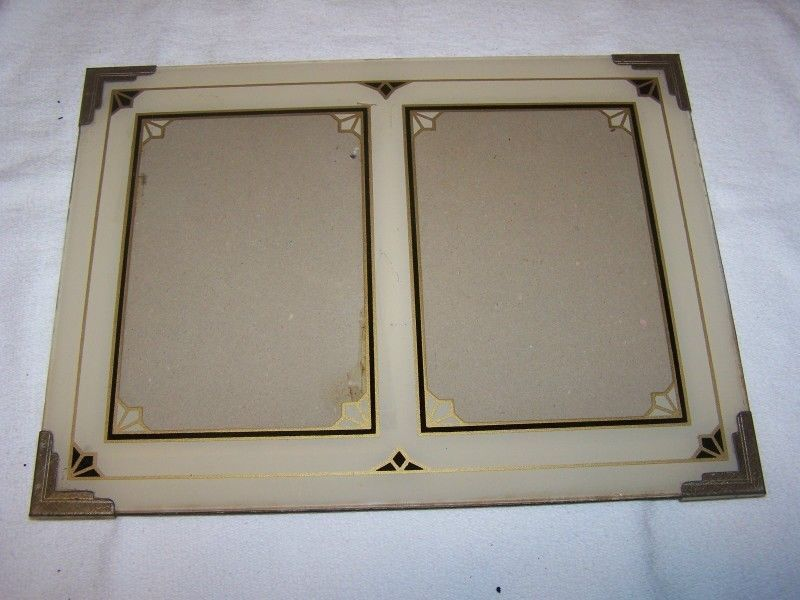 1 Fantastic Double Art Deco Reverse Painted Picture Frame 9 X 12 ...