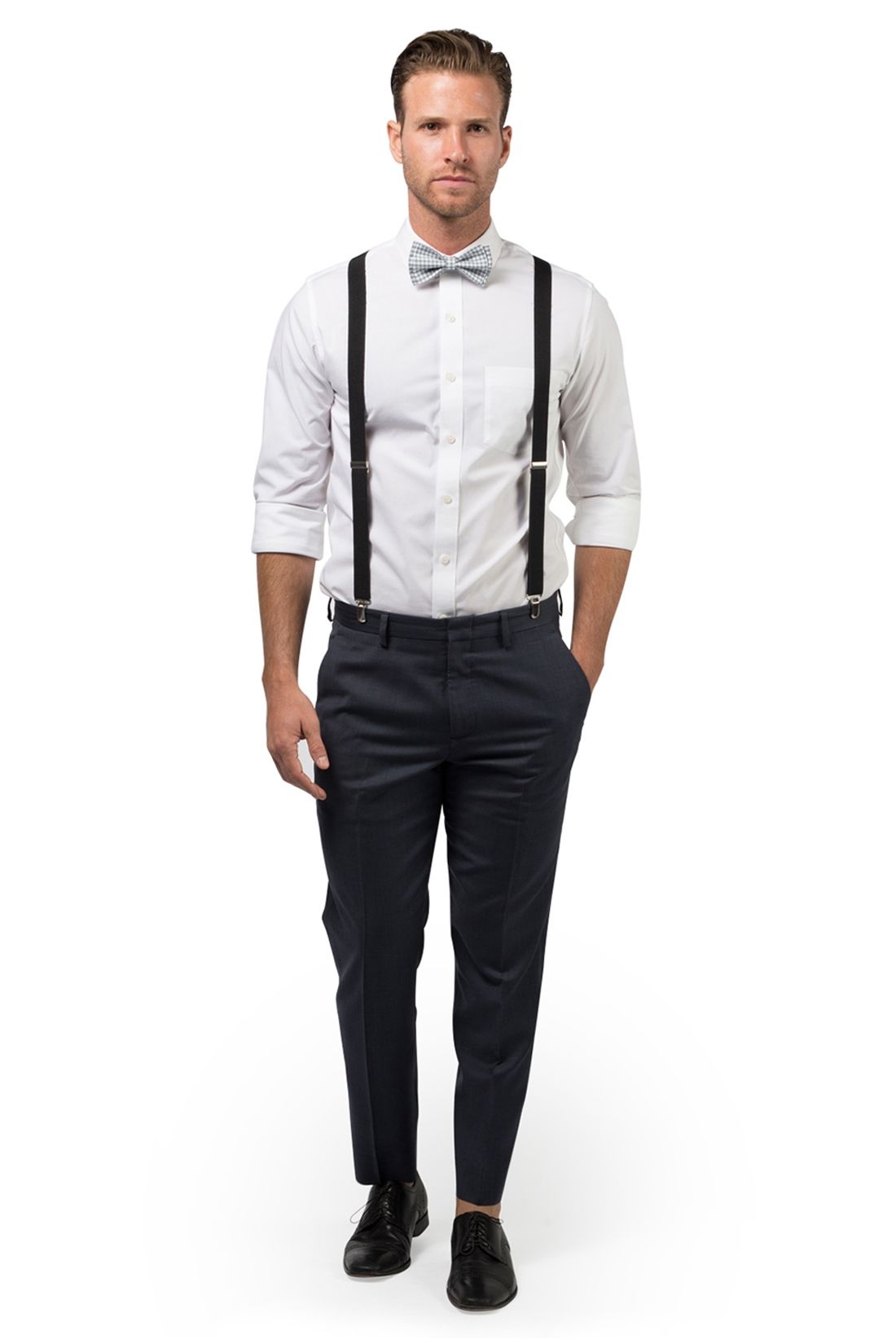 756053b6c9c6 Black Suspenders and Gingham Gray Bow Tie for Baby | Toddler | Boy | Men  #wedding #weddinginspiration #weddingideas #groom #groomsmen #ringbearer  #prom ...