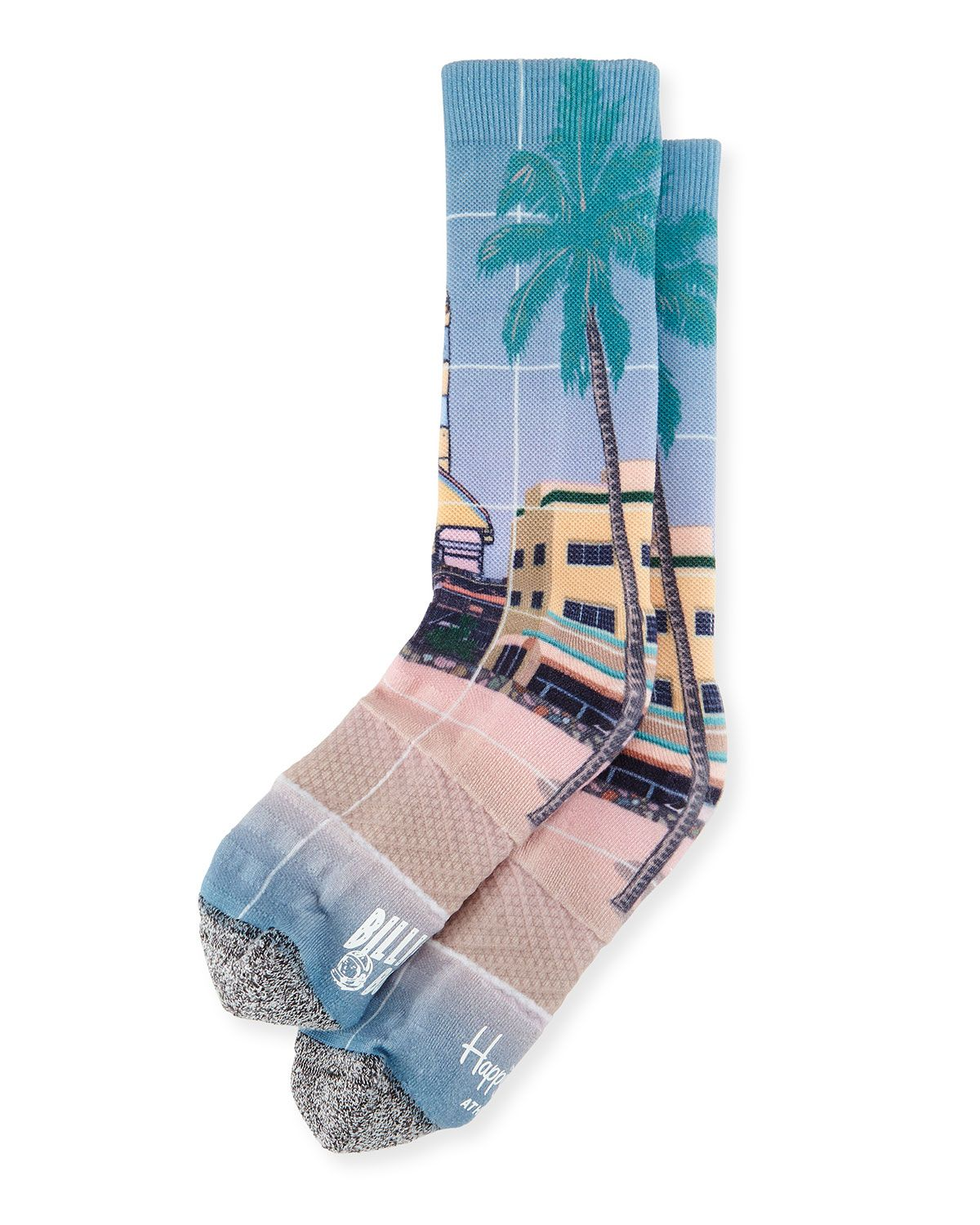 Palm Tree Rocket Printed Knit Socks Tan Happy Socks X