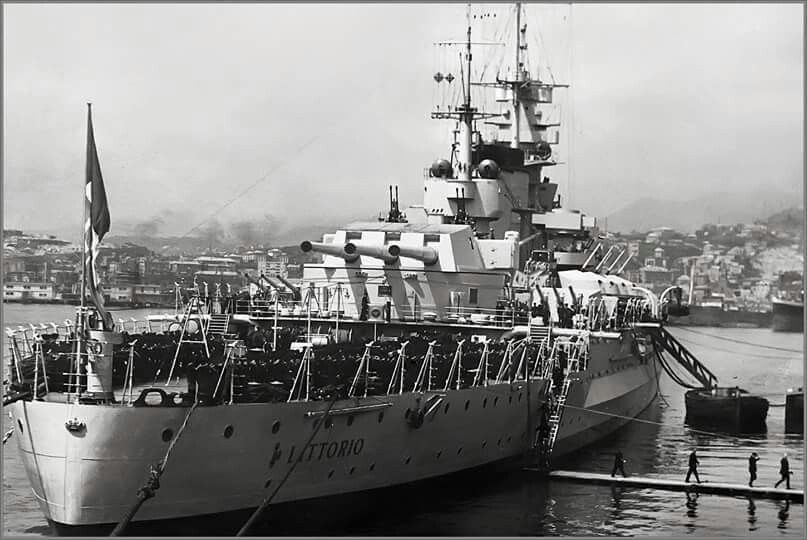 15 in Littorio, lead ship of her class of three, Italy's most modern battleships off WW2.  Uniquely she was severely damaged both by the British (during the famous Taranto raid of November 1940) and by the Germans (whilst sailing to Malta to surrender in September 1943: her sister Roma was sunk).
