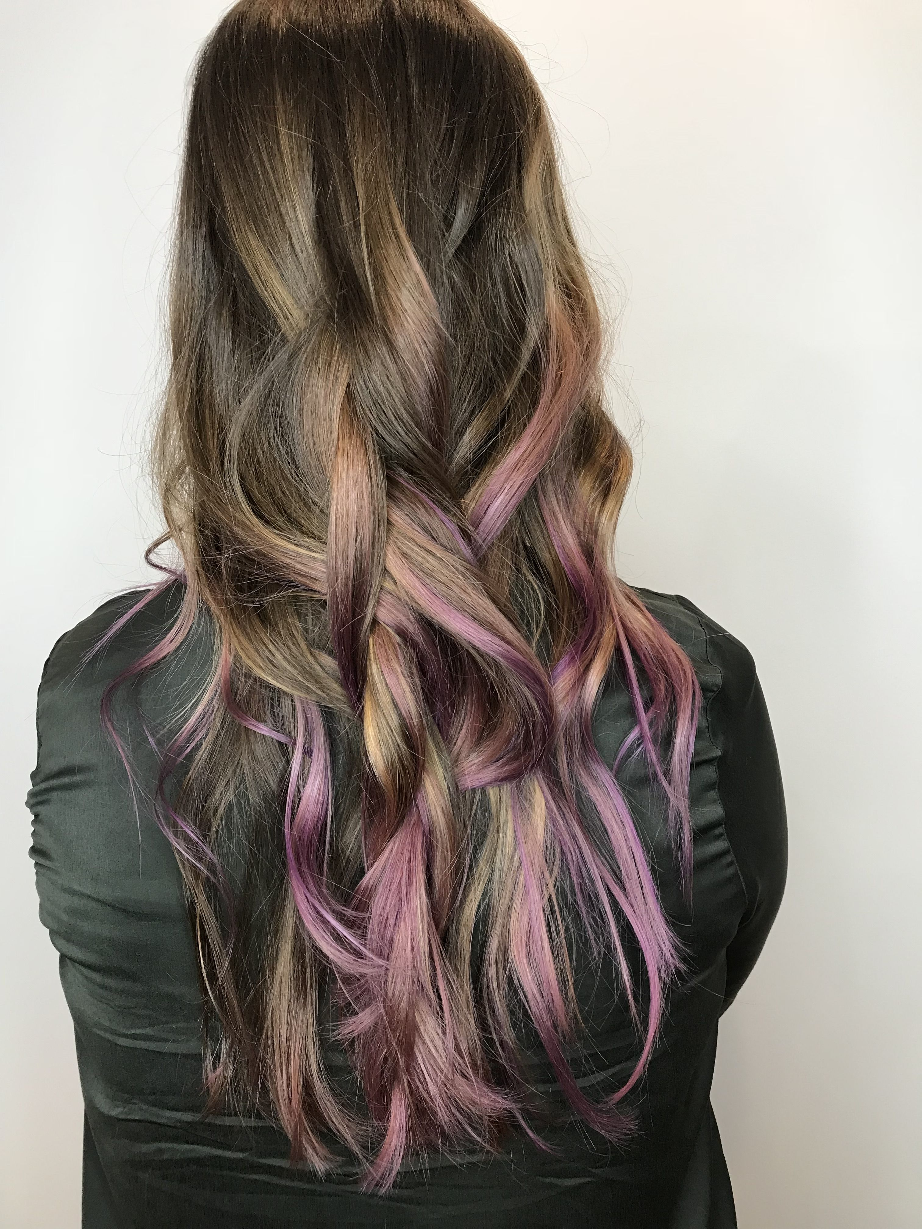 Balayage On Natural Brown Hair With Purple Tips For A Wearable Vivid