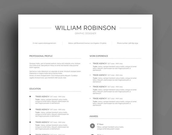 Professional Resume Template / CV Template + Cover Letter + - professional reference