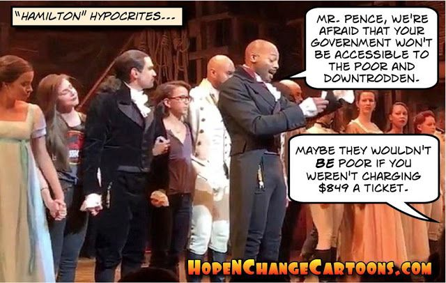 obama, obama jokes, political, humor, cartoon, conservative, hope n' change, hope and change, stilton jarlsberg, hamilton, pence, broadway, assholes
