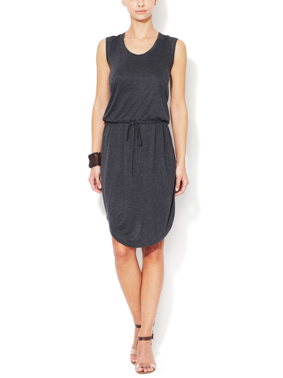 Jersey Belted Sleeveless Dress by Atwell