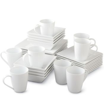 Square White Dish Sets Jcpenney Cooks 32 Pc White Square Dinnerware Set Customer Square Dinnerware Set Dinnerware Set White Dish Set