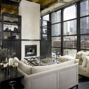 Exterior: See Through Fireplace Designs Combined By Small Sectional Sofa Accented By Different Types Of Wood Floors