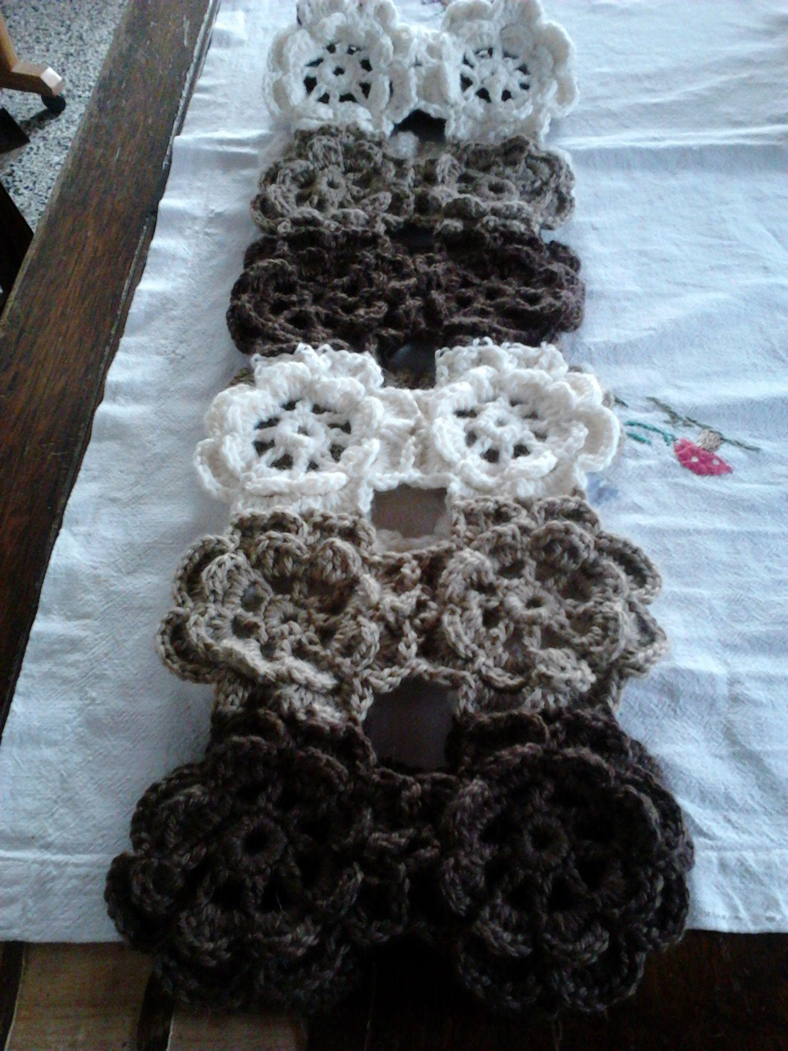 bufanda flores al crochet