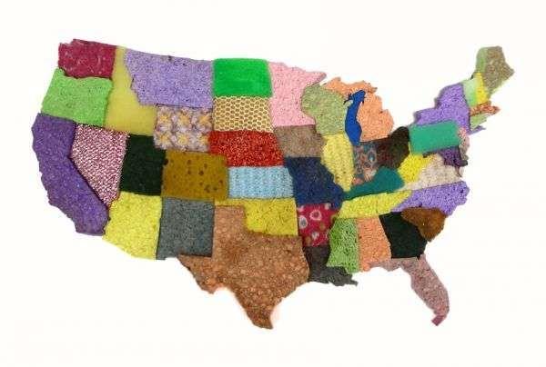 Sponge-Made Maps - Jeffrey Allen Price Renders the World Using used kitchen sponges