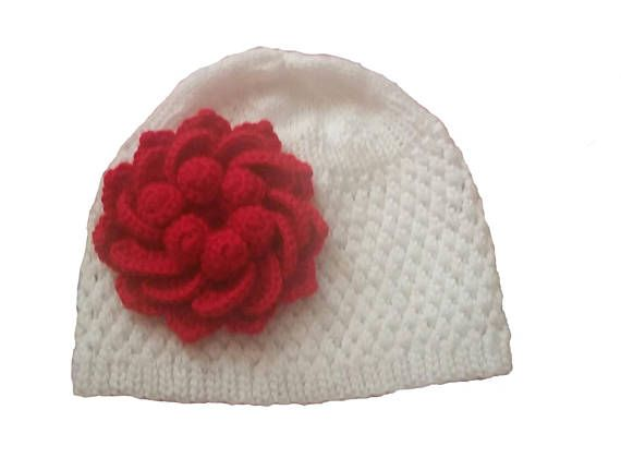 White and Red Baby Beanie Hat 353583385f8