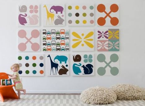 so simple- stencils, bright paint and white canvas- love the big scale