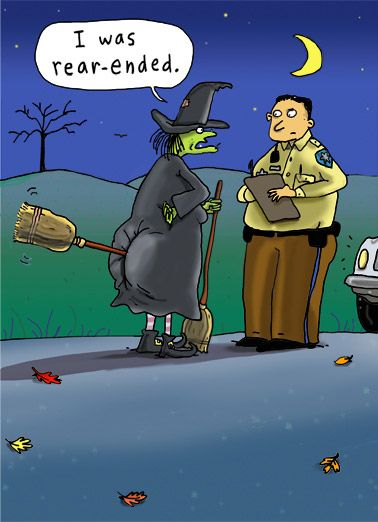 Rear Ended Funny Halloween Card More Than A Fender Bender For This