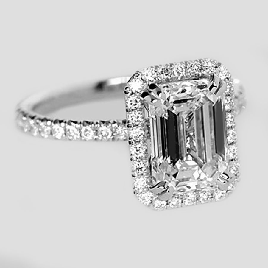 rings engagement gia e double shank ring cut platinum profile diamond split cushion halo certified in carat with standing side preset