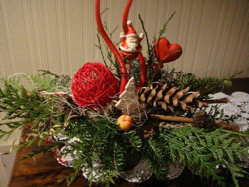 D coration de tables et art floral table noel art - Decoration florale noel ...