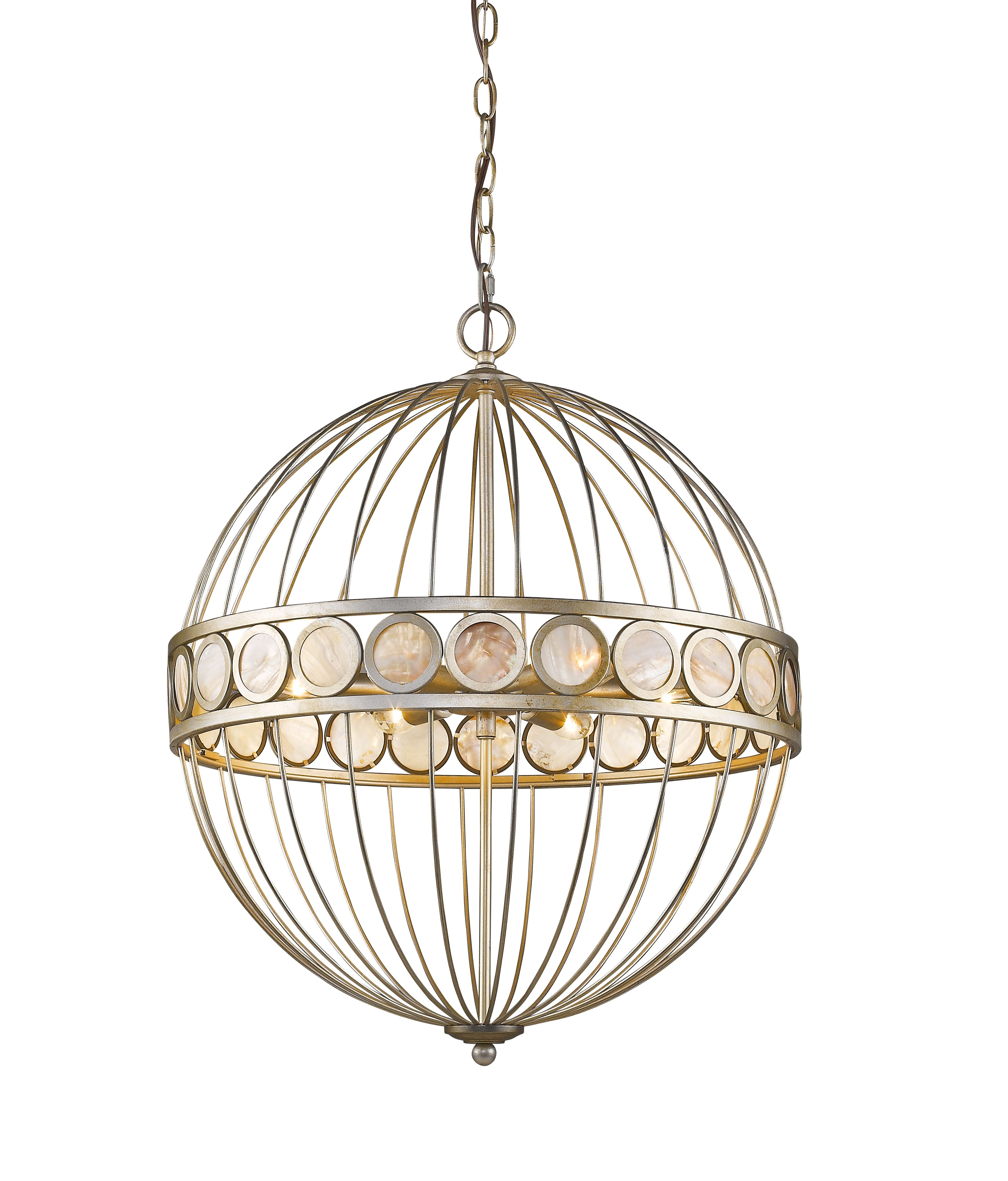 mother of pearl chandelier. Aria 6-light Chandelier In Antique Silver With Mother Of Pearl Discs