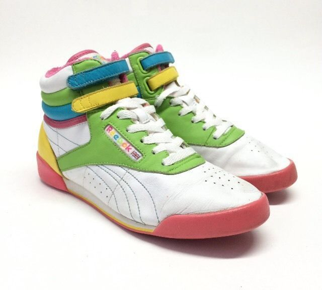 19d1c38ba25 vintage 80 s women s reebok classic high tops shoes sz 5 eu 36.5 vtg  rainbow from  76.87