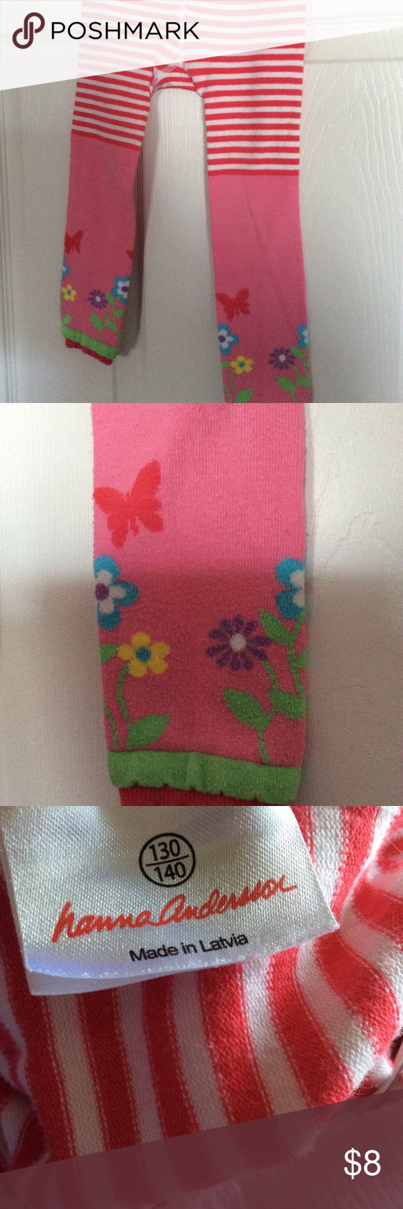 85cf69f9a3fd2 Hanna Andersson fun footless ankle tights Super-cute footless tights. Pink  with flowers and
