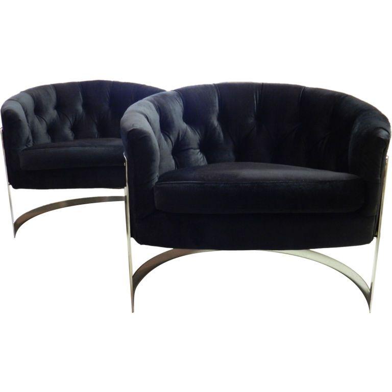 Pair Milo Baughman Barrel Chairs