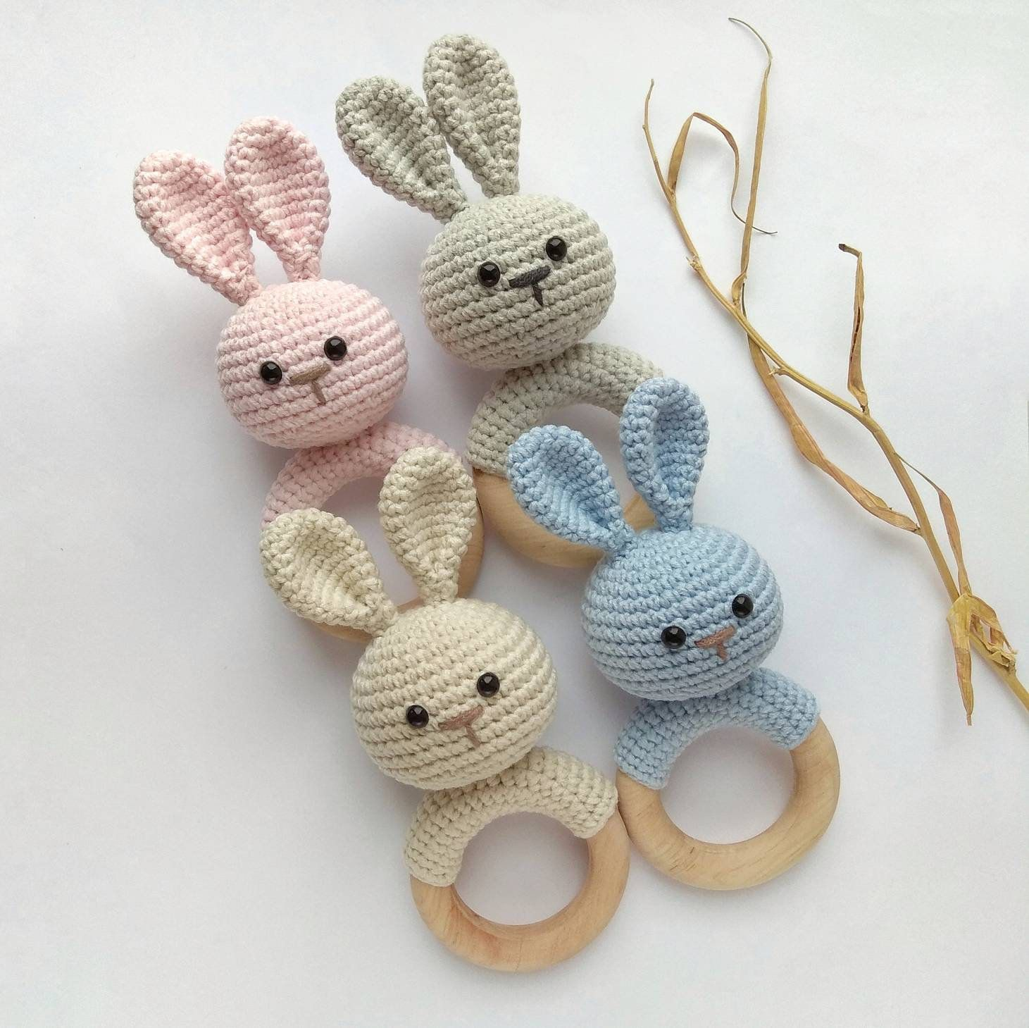 Photo of Bunny Rabbit rattle nursery first toy Newborn toy baby shower gift Organic eco animal decor rattle Baby teething toy
