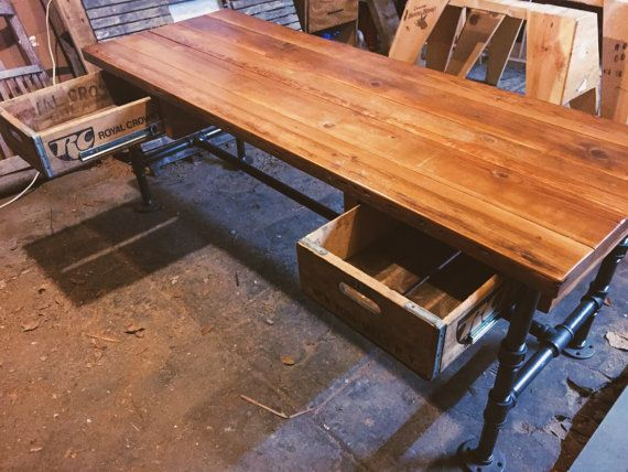 Steampunk Desk With Reclaimed Redwood Top By TheSpringStDesignCo