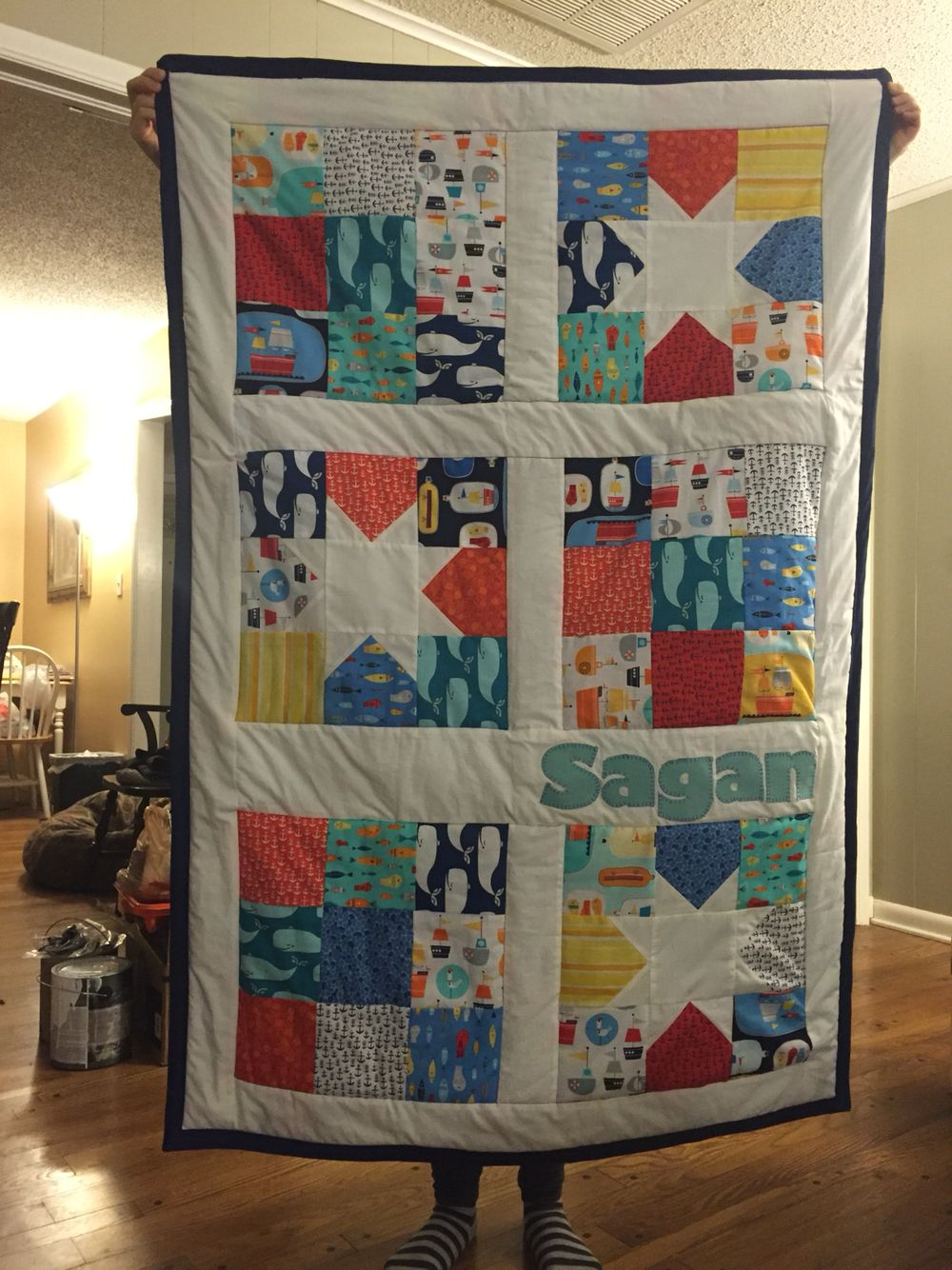 Baby crib quilts - Baby Crib Quilt Using Robert Kauffman Message In A Bottle Charm Pack And Modified